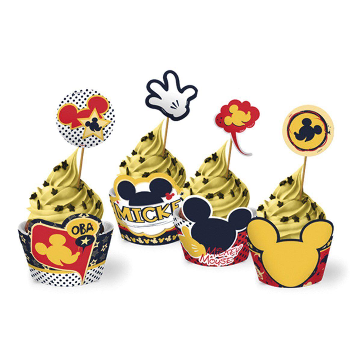 Cupcake Wrapper Mickey Clássico com  12 unidades