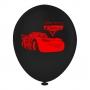 Balão Carros 3 Preto e Vermelho - 9 Polegadas - 25 Unidades