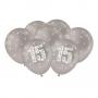Balão Estampado Metalizado Prata 15 Anos - 9 Polegadas - 25 Un.