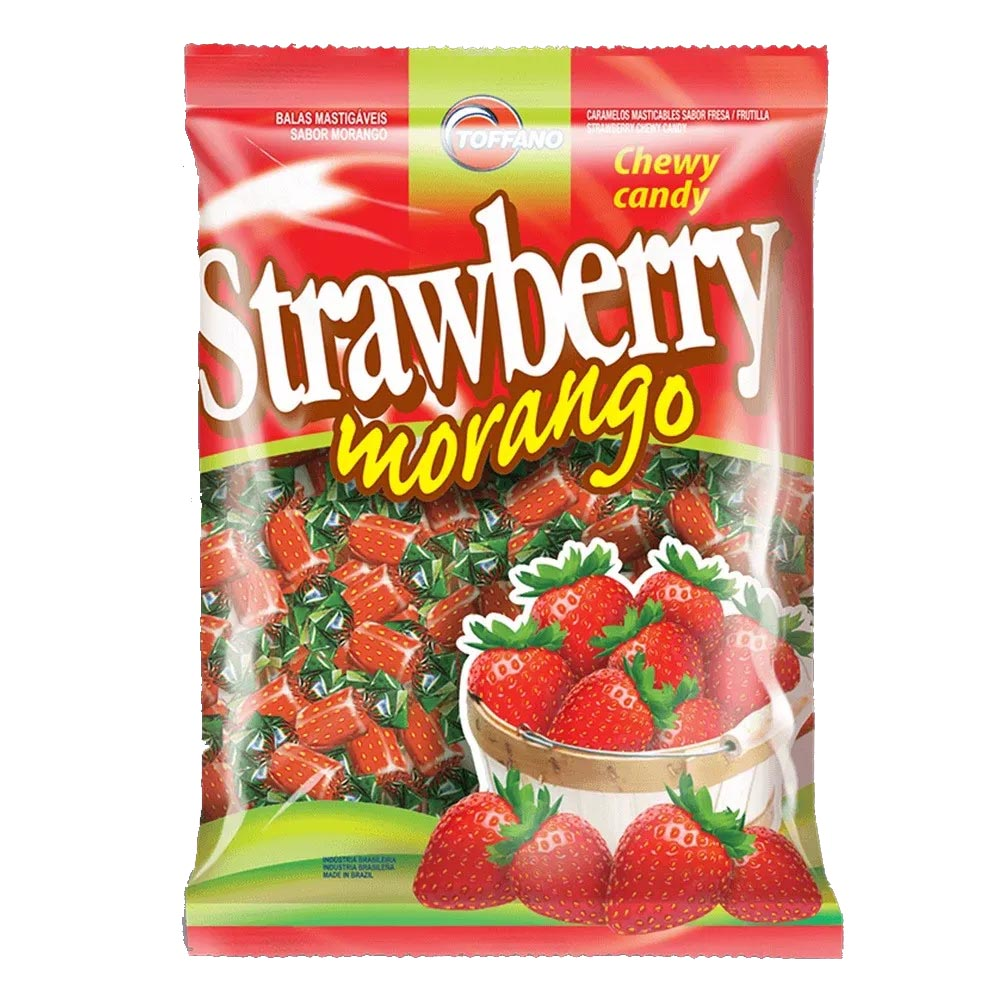 Bala Mastigável Morango Strawberry - 600g