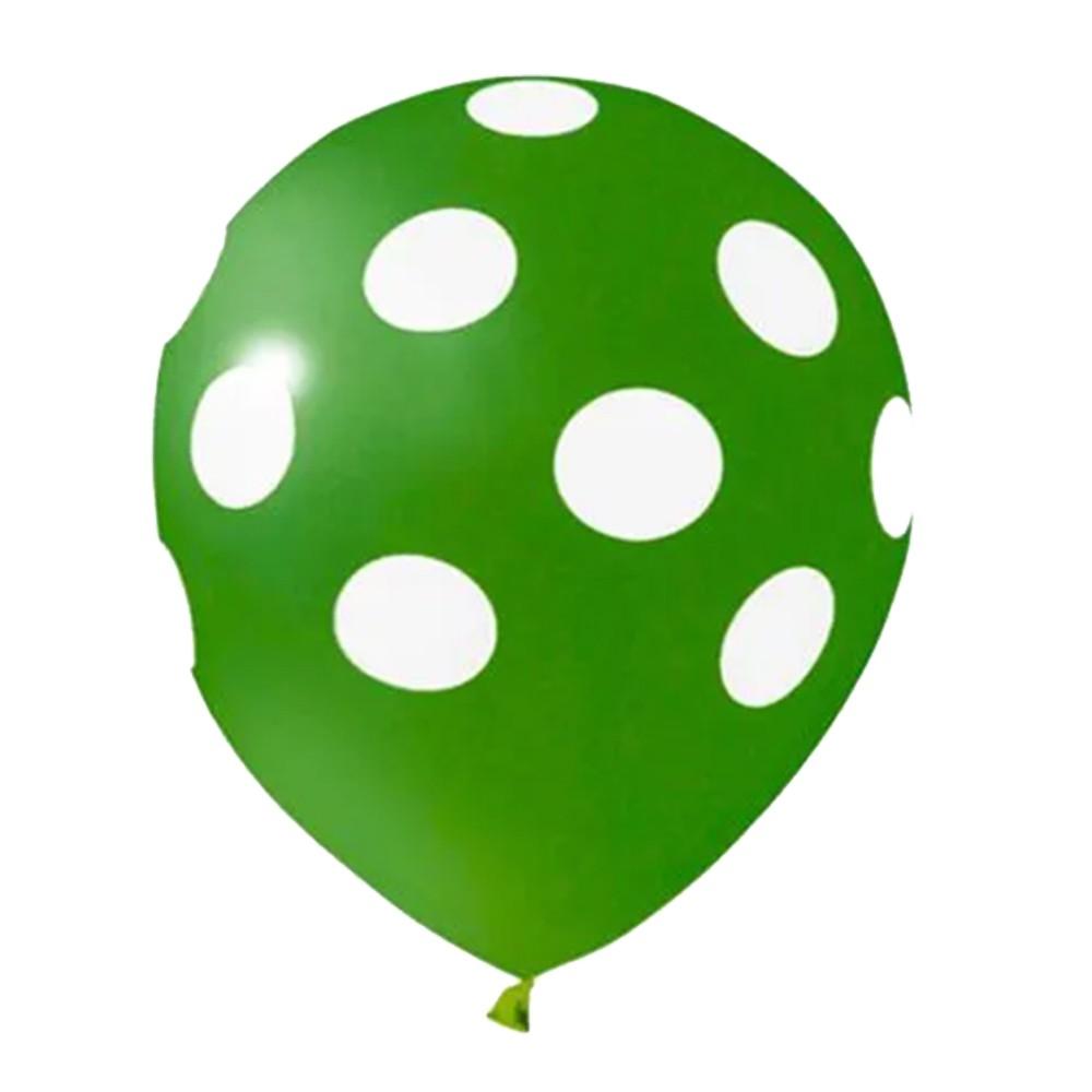 Balão Bolinha Verde e Branco - 9 Polegadas - 25 Unidades
