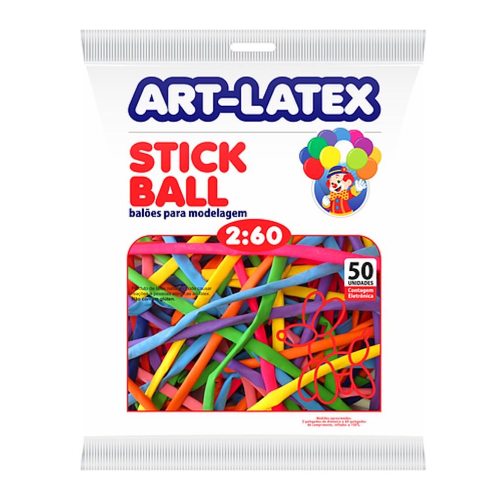 Balão Canudo Sortido - 2 x 60 Polegadas - 50 Unidades