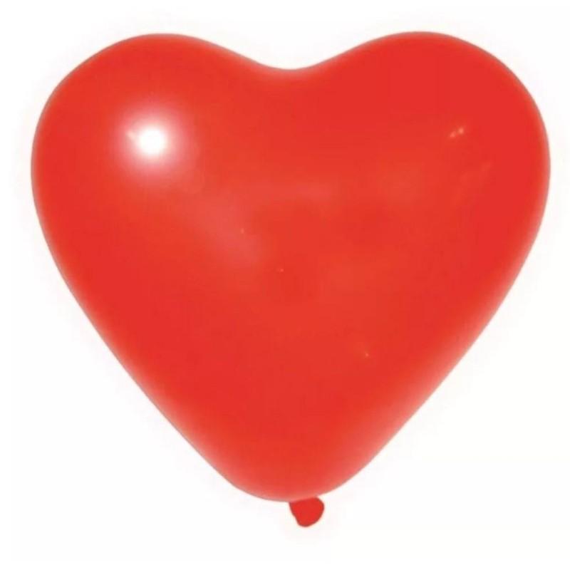 Balão Coração Látex Vermelho 12 Polegadas - 25 unidades