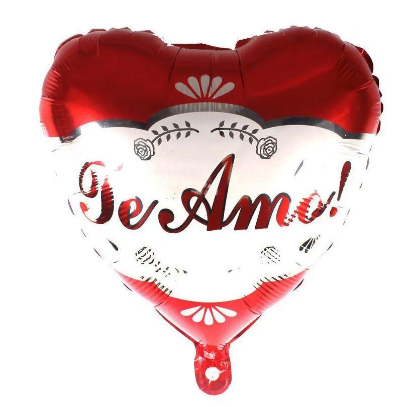 Balão Coração Te Amo Vermelho/Branco