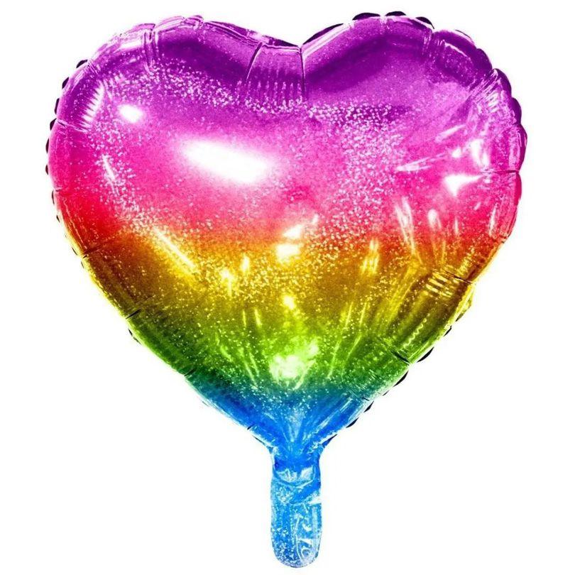 Balão de Coração Arco Íris Holográfico - 18 Polegadas