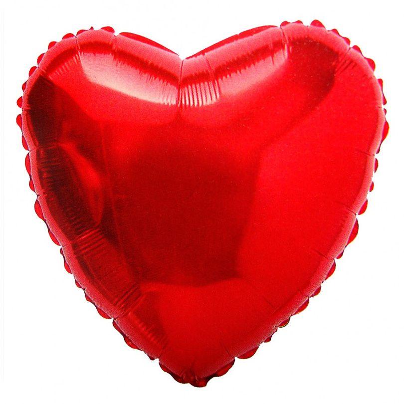 Balão de Coração Vermelho Metalizado - 18 Polegadas