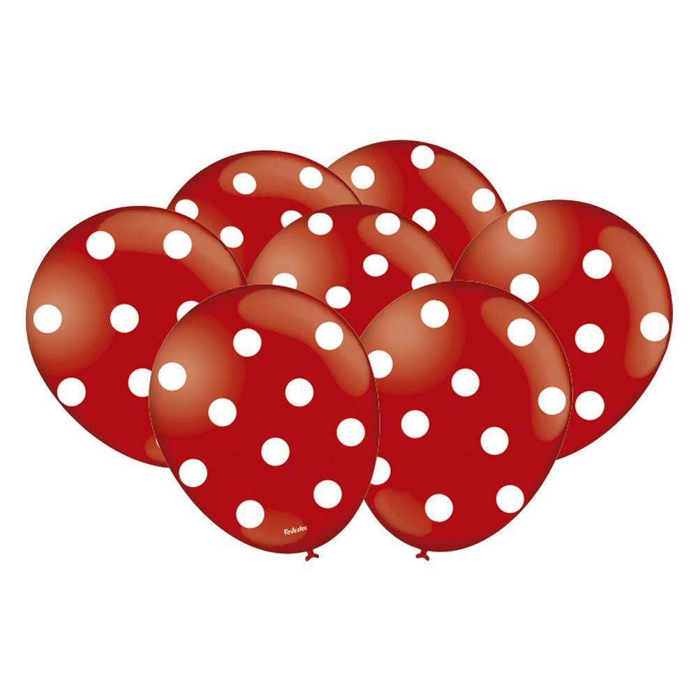 Balão Vermelho com Bolinhas Brancas - 9 Polegadas - 25 Unidades