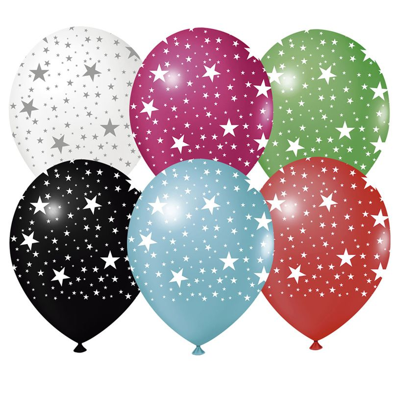 Balão Estampado Estrelas Coloridas - 25 unidades