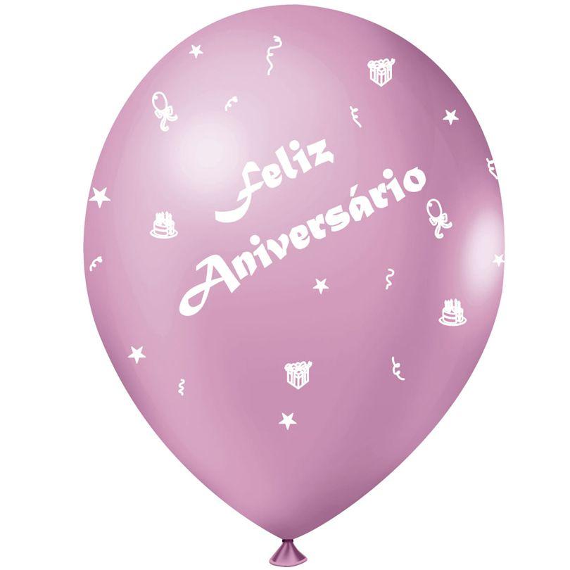 Balão Feliz Aniversário Rosa  - 25 unidades
