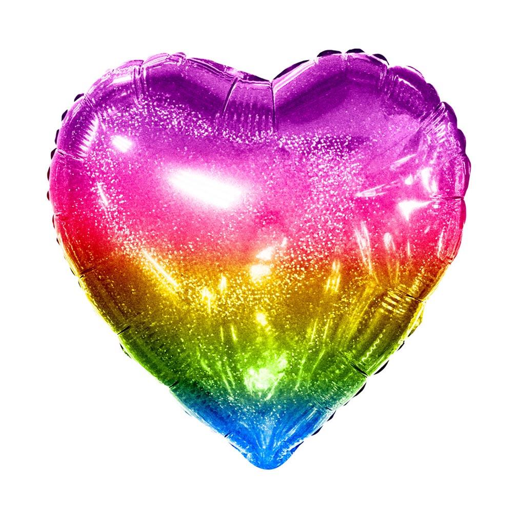 Balão Metalizado Coração Arco Íris Holográfico - 20 Polegadas