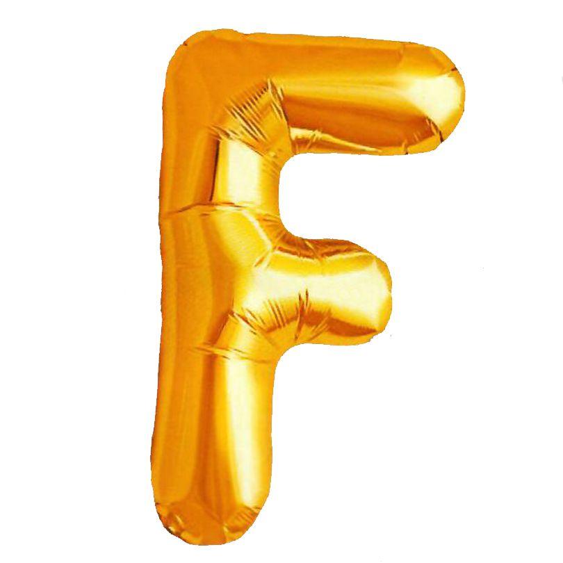 Balão Metalizado Letra F Dourado 70cm