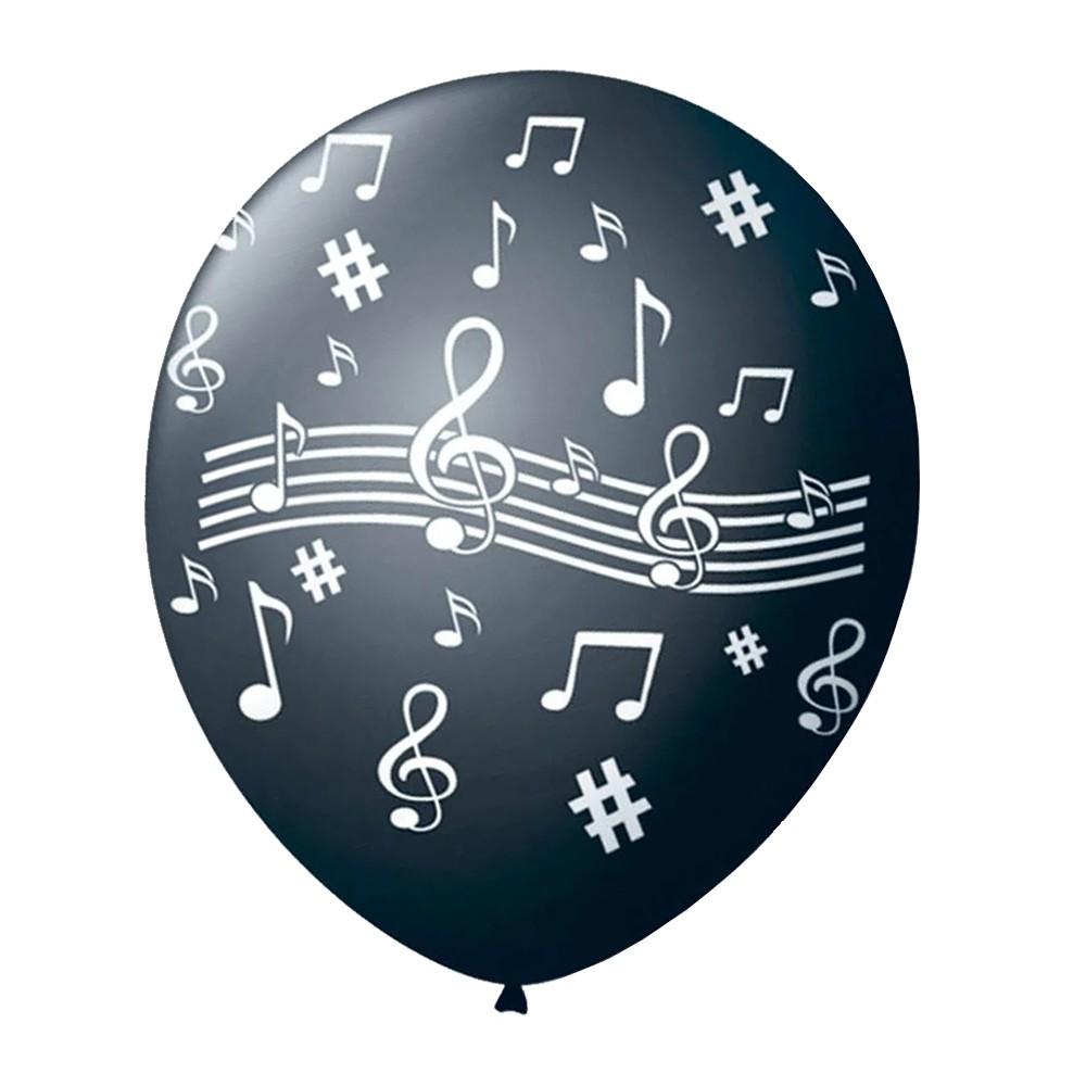Balão Notas Musicais Preto - 11 Polegadas - 25 Unidades