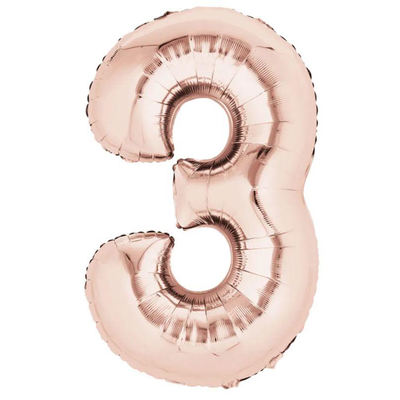 Balão Metalizado Número 3 Rose Gold - 40cm