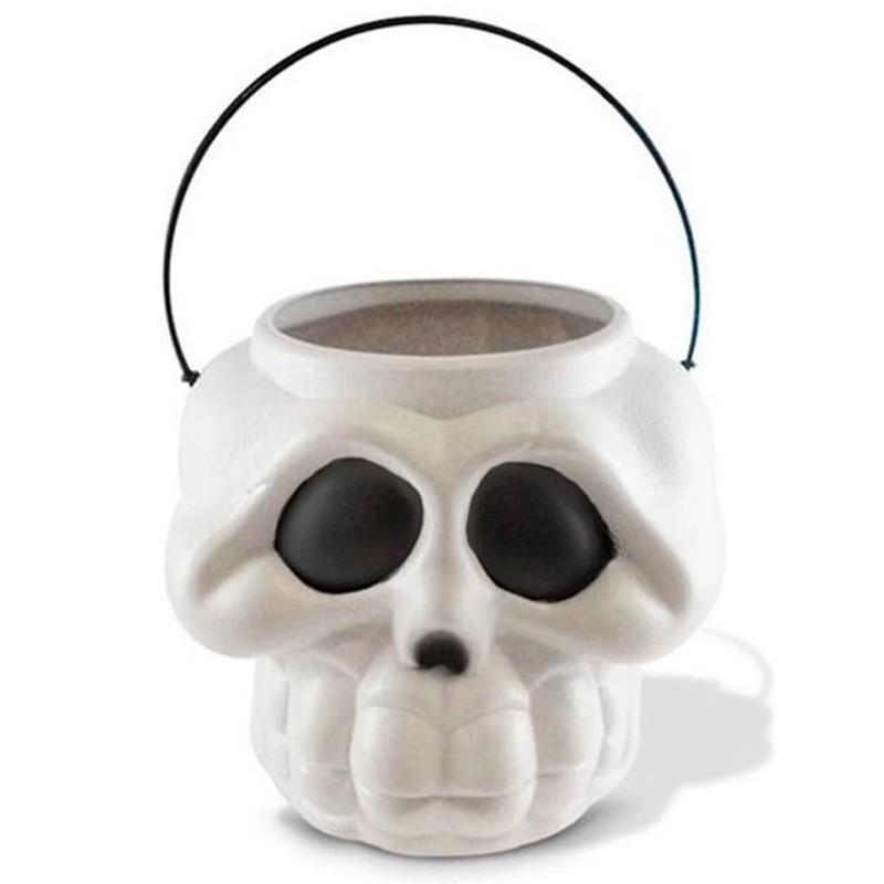 Balde Cabeça de Esqueleto Branco - 16x14cm
