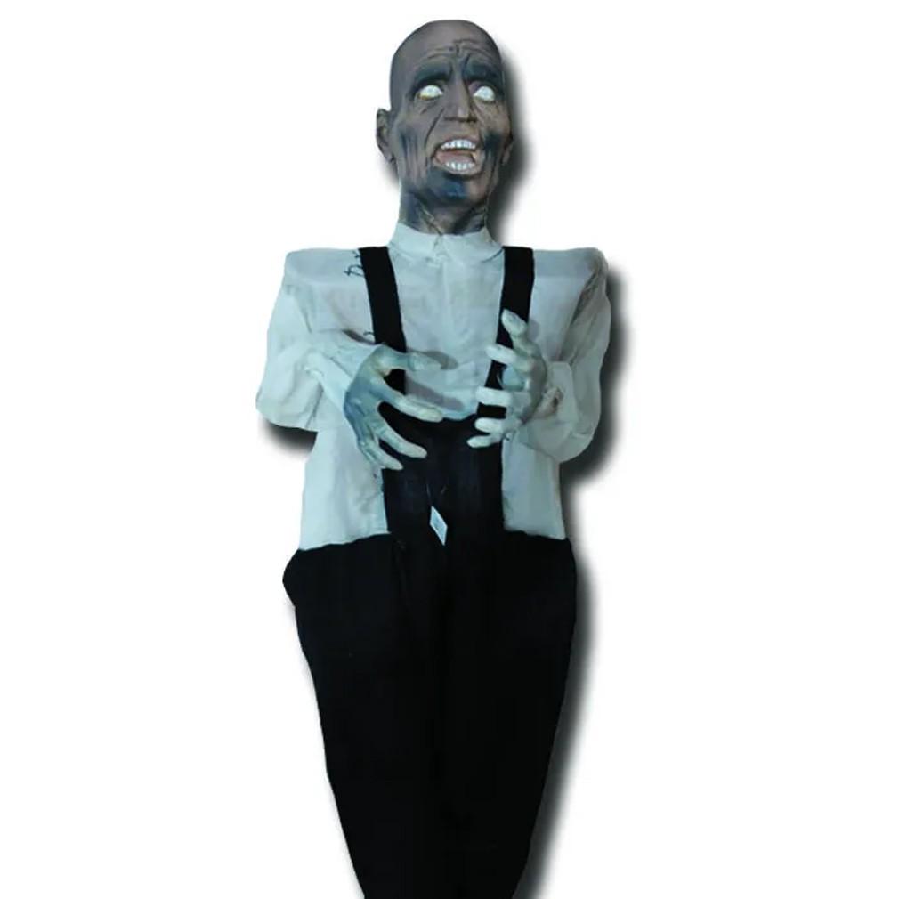Boneco Careca Assustador Zumbi com Luz e Movimento