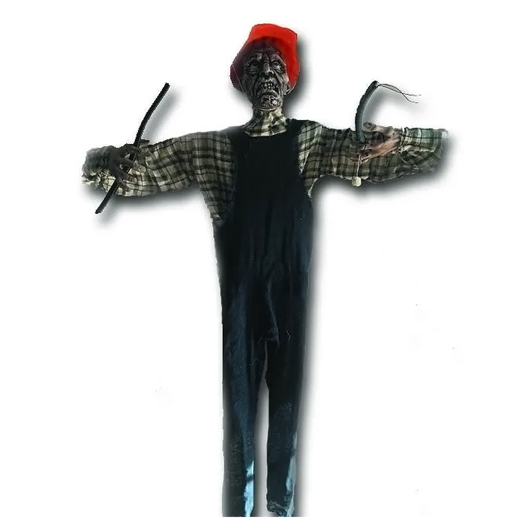 Boneco Eletricista com Som e Luz Halloween