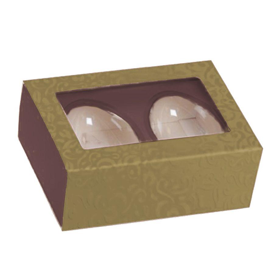 Caixa Dois Meio Ovo de Colher Marrom Dourado