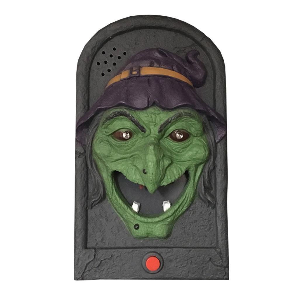 Campainha Halloween Bruxa com Aranha Assustadora Som e Luz