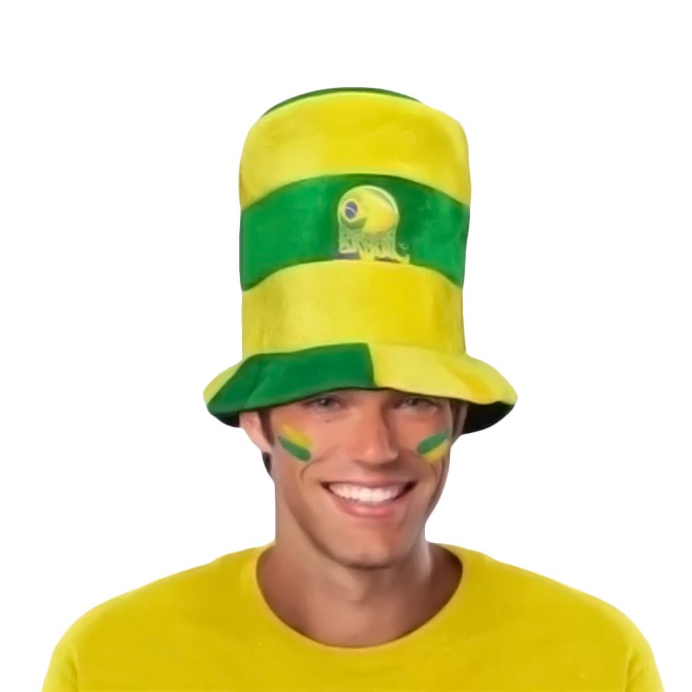 Chapéu Cartola Baixa Brasil com Listras Verde e Amarela