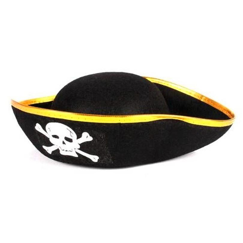 Chapéu de Pirata com Borda Dourada