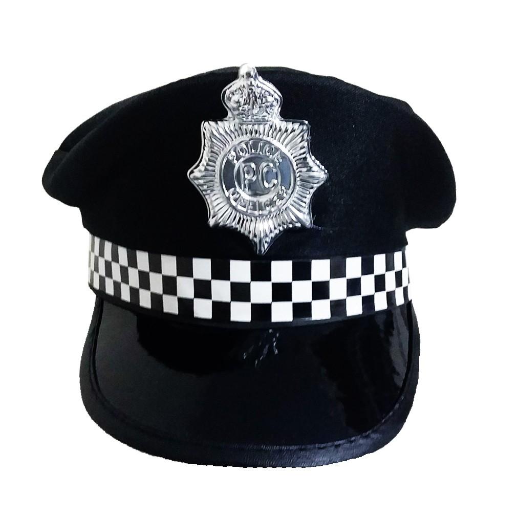 Quepe Policial Preto com Emblema