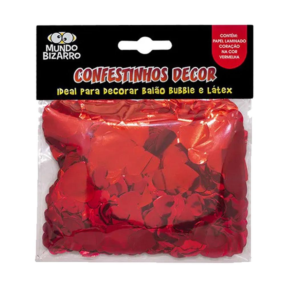 Confete Metalizado para Balão Coração Vermelho - 25g