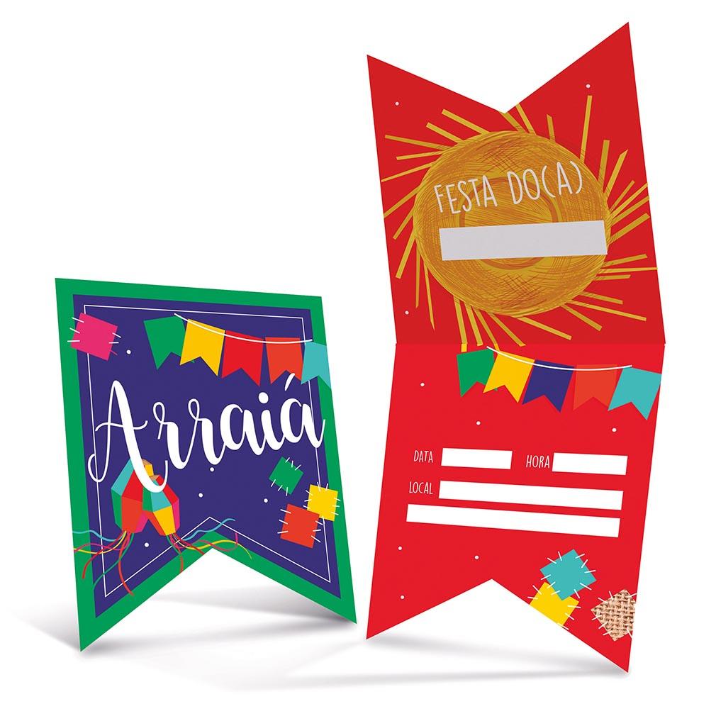 Convite Festa Junina Arraiá - 8 Unidades