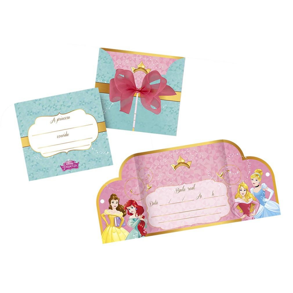 Convite Princesas Disney - 8 unidades