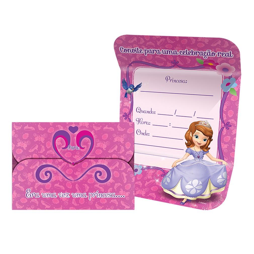 Convite Princesa Sofia - 8 Unidades