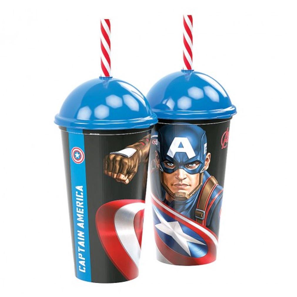 Copo com Canudo Capitão América Shake - 500ml