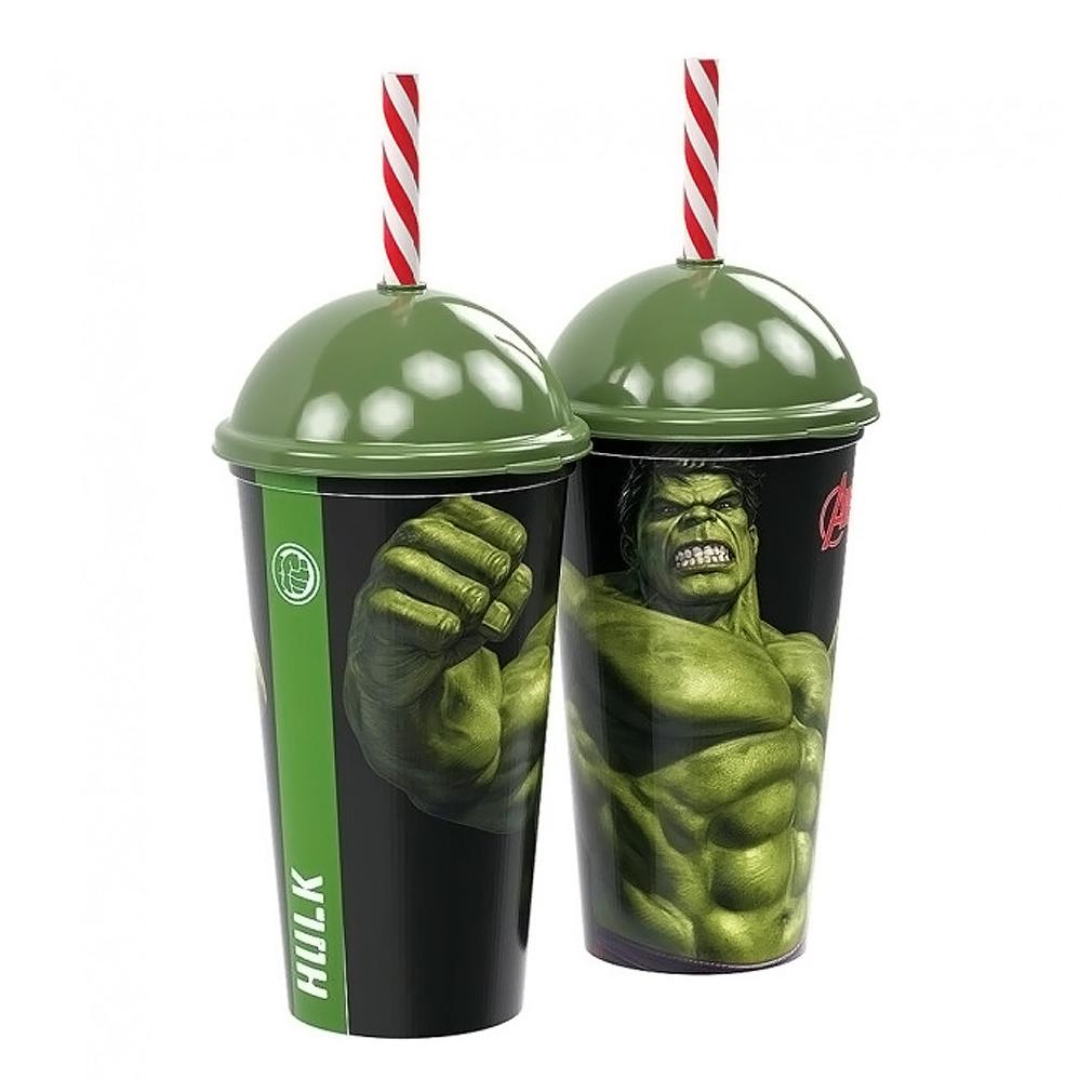 Copo com Canudo Hulk Shake - 500ml