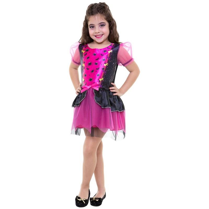 Fantasia Bruxa Pink Clássica Infantil
