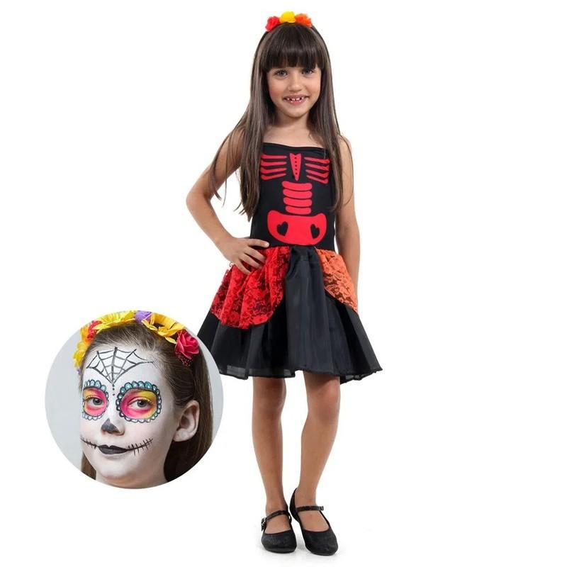 Fantasia Caveira Mexicana Com Maquiagem - Infantil