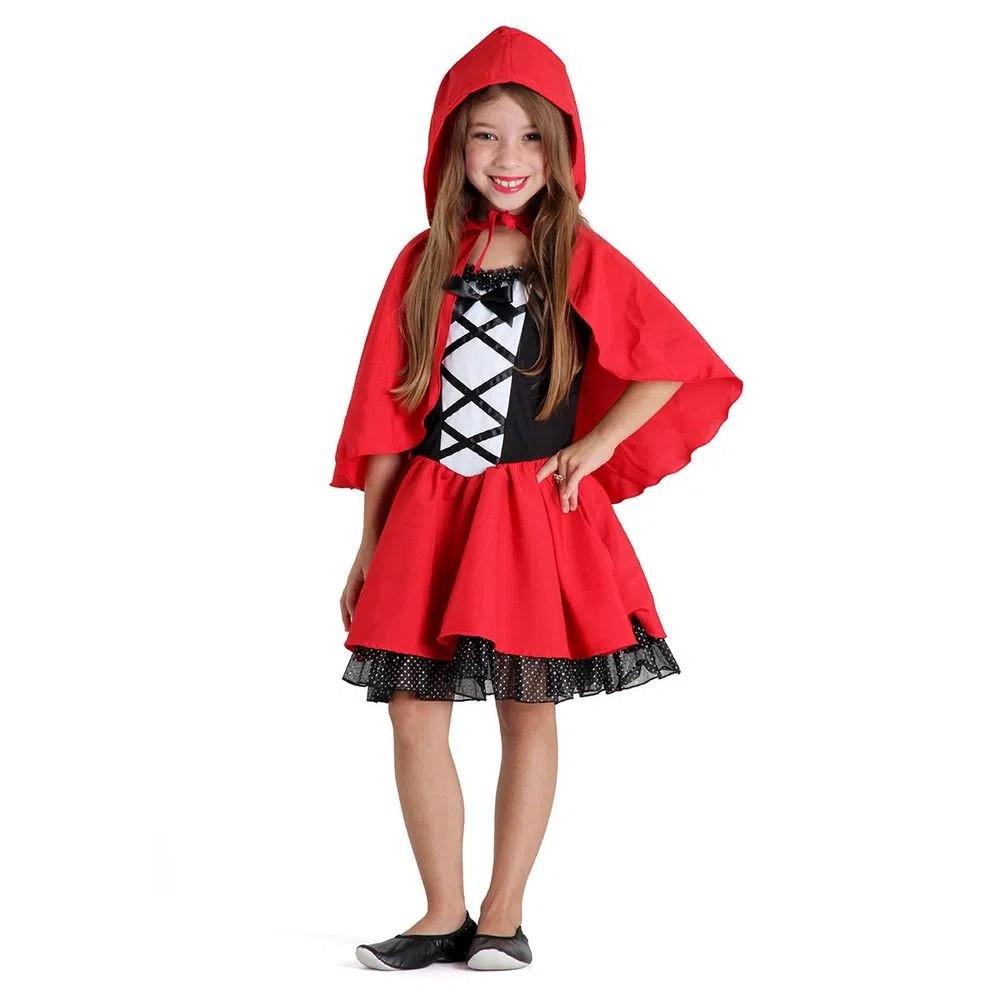 Fantasia Chapeuzinho Vermelho Infantil Luxo com Capuz