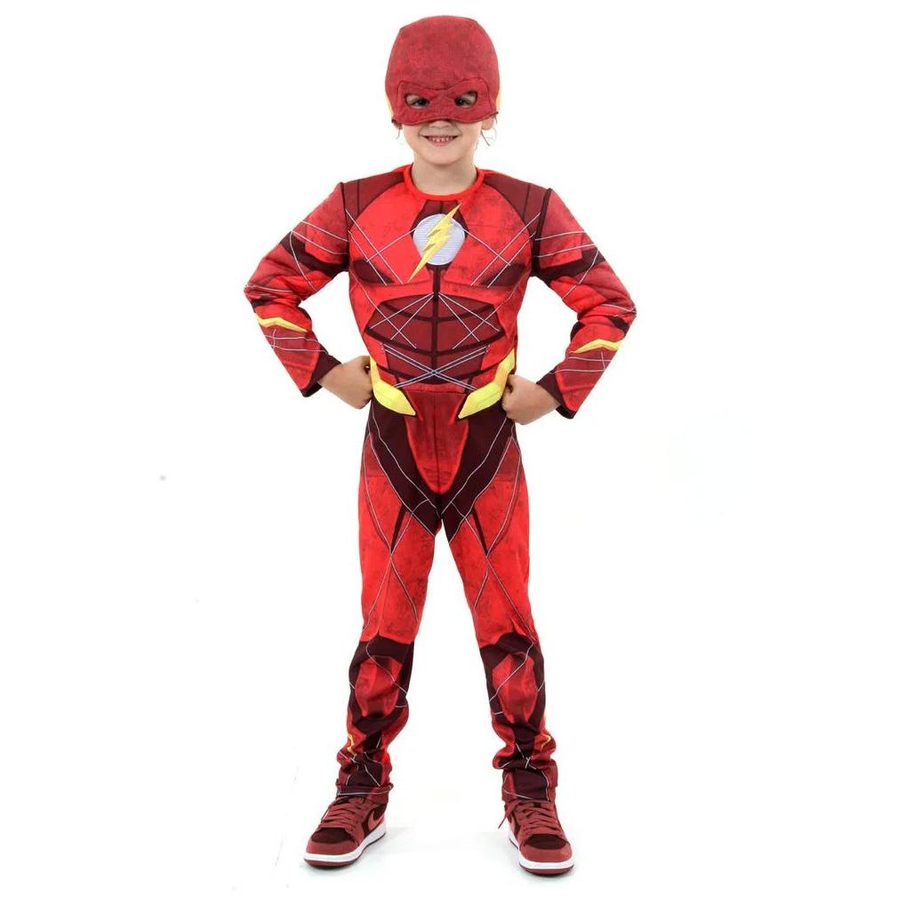 Fantasia Flash Infantil Luxo com Máscara Liga da Justiça