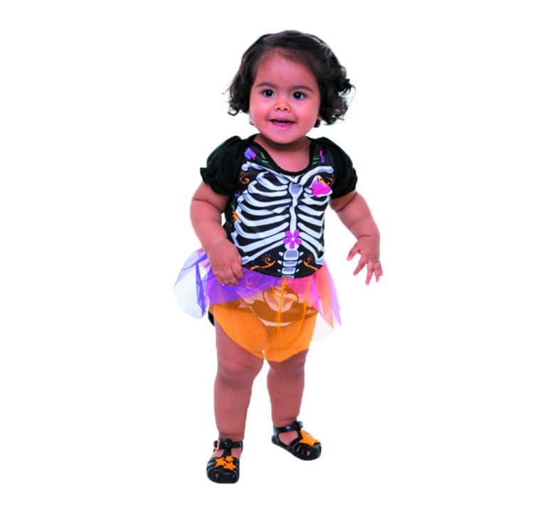 Fantasia Halloween Esqueleta - Bebê
