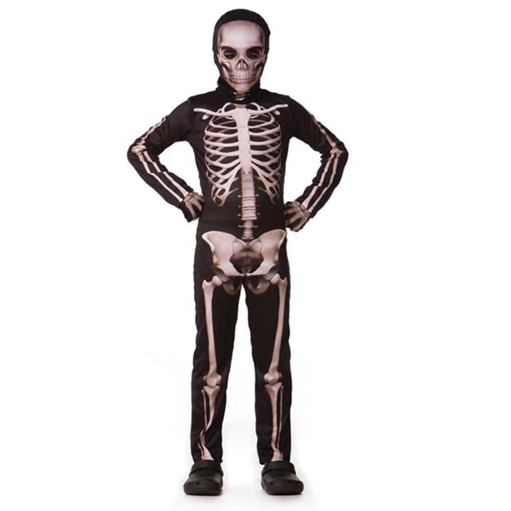 Fantasia Halloween Esqueleto Clássico Longo - Infantil