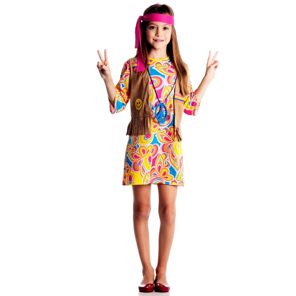 Fantasia Hippie Feminina - Infantil