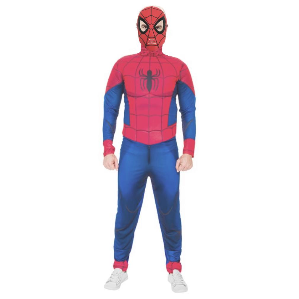 Fantasia Homem Aranha Adulta Longa com Músculos e Máscara