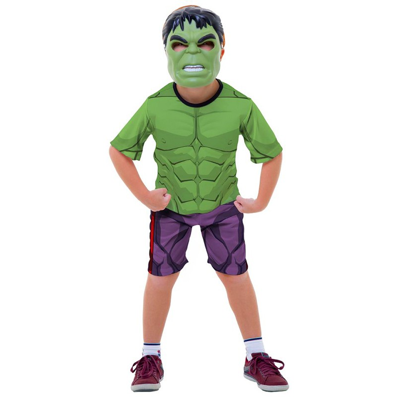 Fantasia Hulk Infantil Curta com Máscara