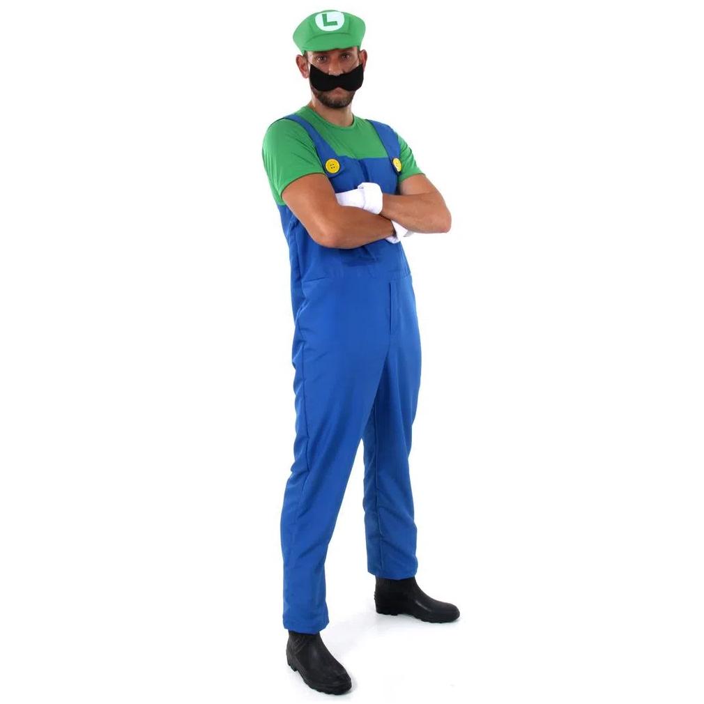 Fantasia Luigi Adulto Masculino com Chapéu Bigode e Luva