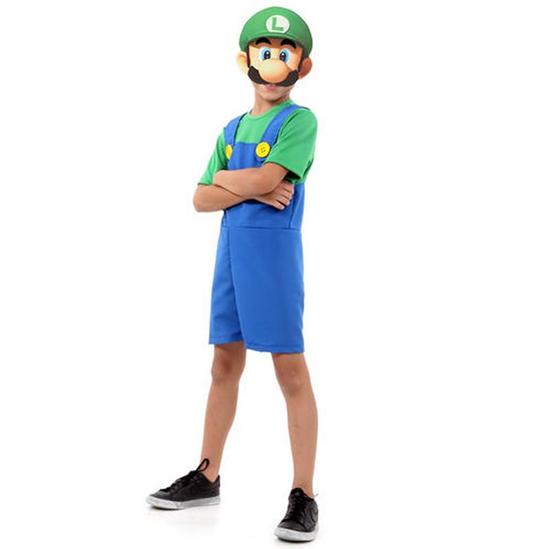 Fantasia Luigi Infantil Super Pop com Máscara