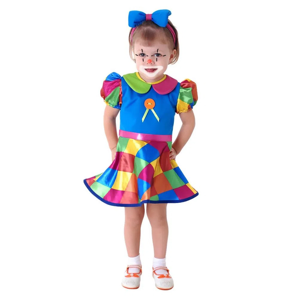 Fantasia Palhacinha Infantil para Bebê com Faixa de Cabeça