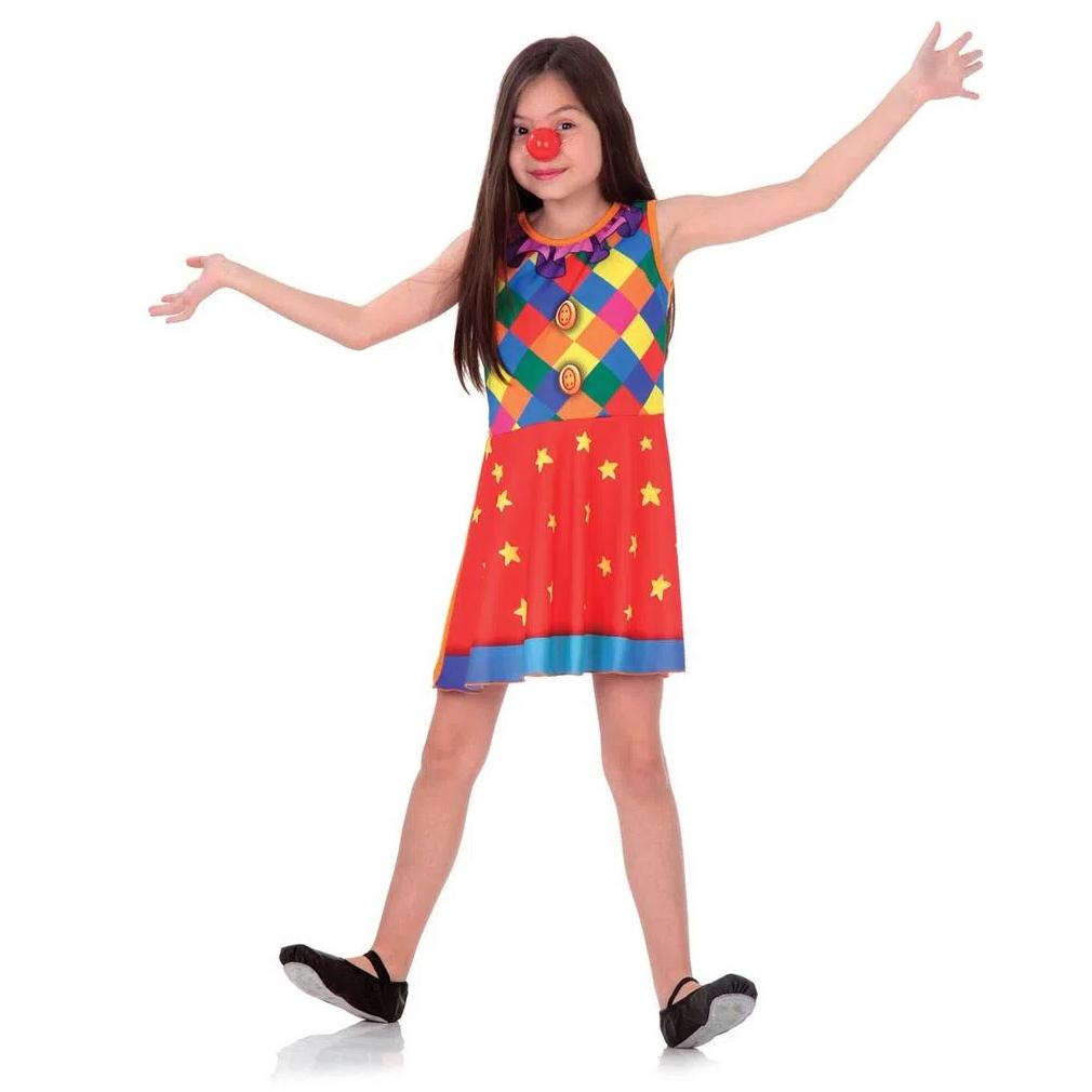 Fantasia Palhacinha Infantil Superpop Vestido e Nariz