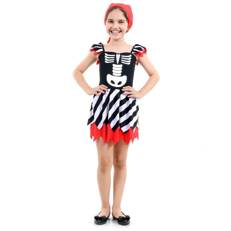 Fantasia de Pirata Esqueleto Halloween - Infantil