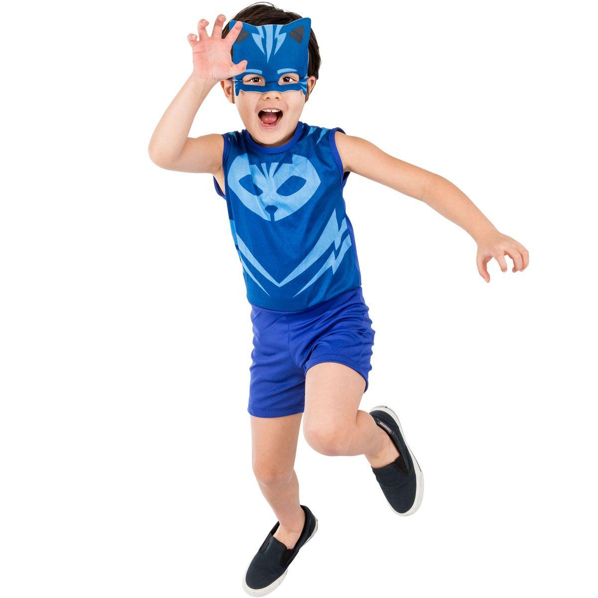 Fantasia Menino Gato Infantil PJ Masks com Máscara