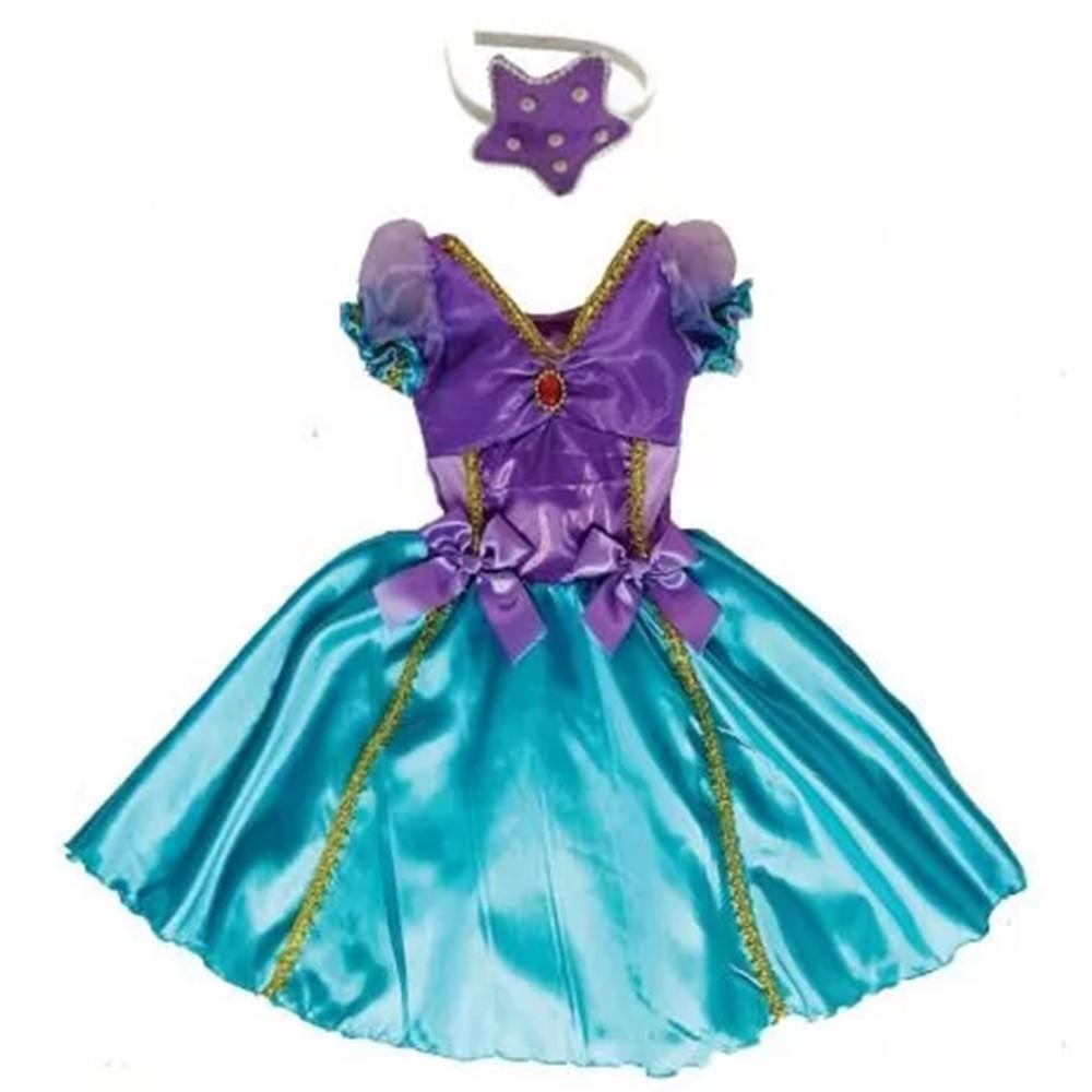 Fantasia Princesa Sereia Infantil Vestido com Tiara
