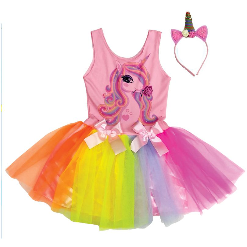 Fantasia Infantil Unicórnio Vestido com Tiara