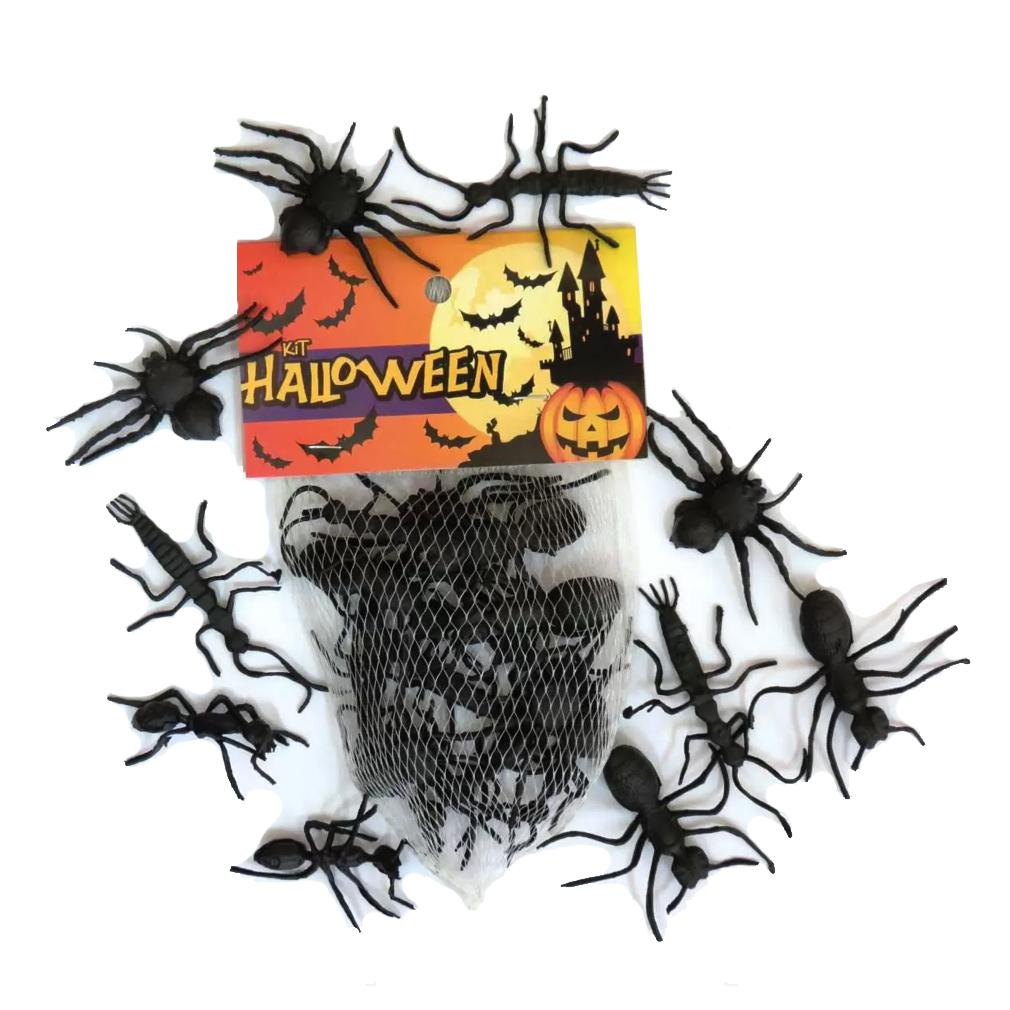 Insetos de Brinquedo Formigas e Aranhas - 12 Unidades
