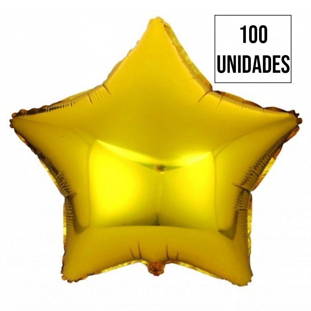 Kit 100 Balão Estrela Dourada